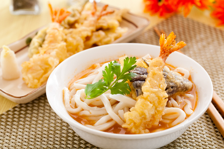 Udon japanese noodles with tempura
