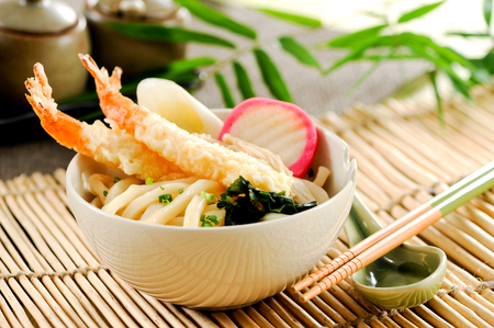 Udon noodles with shrimp tempura,Japanese cuisine