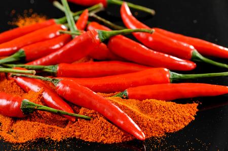 Red chilli pepper with chili powder