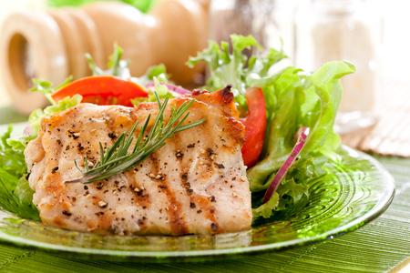 Grilled chicken steak with vegetable salad