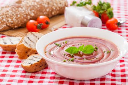 Tomato gazpacho soup with tomatos, Spanish cuisine