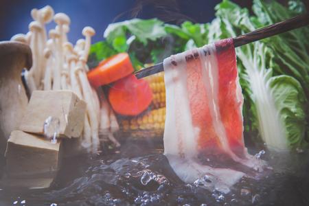 Beef and pork slices for Sukiyaki