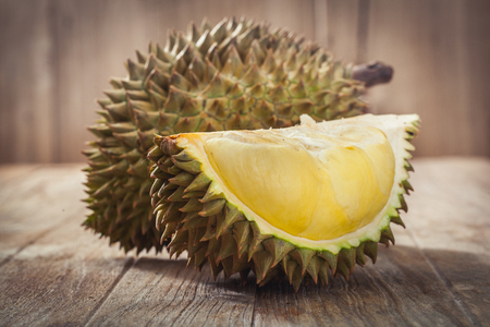 Durian on wood background,King of fruits