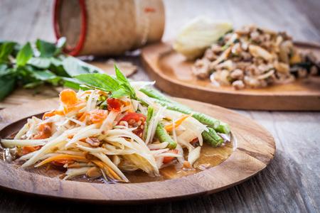 Tajska sałatka z papai, Som Tum z Tajlandii Zdjęcie Seryjne