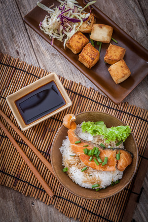 Grilled salmon with rice, japanese food