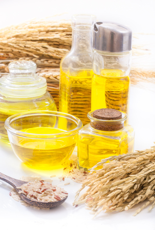 Rice bran oil in bottle glass with seed Stok Fotoğraf - 85577896