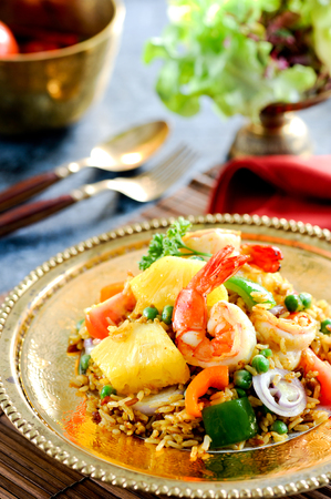 Sour sauce fried rice with pineapple Stock Photo