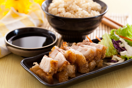 Crispy pork rice in chinese restaurants