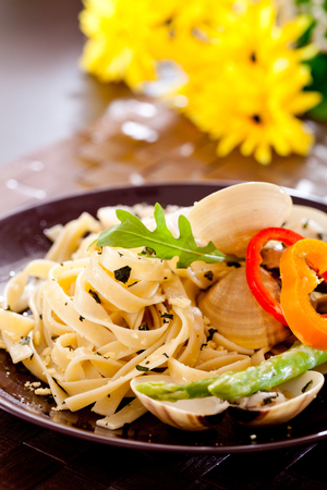 Fettucine pasta with black truffle and cheese