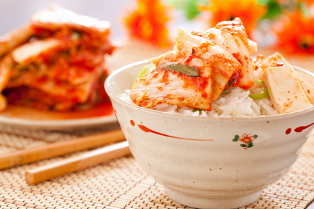 korean salad: Kimchi salad with rice ,korean food traditional