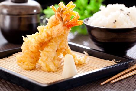 Tempura shrimps and kimchi with rice. Stok Fotoğraf
