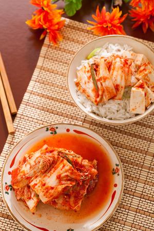 Kimchi salad with rice ,korean food traditional