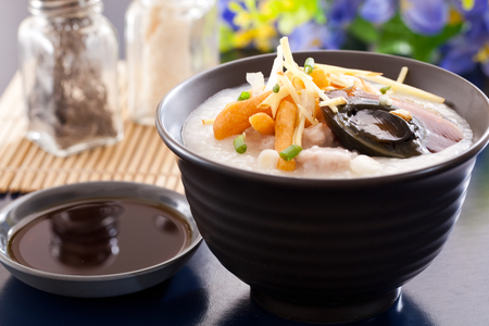 Congee and century egg ,Chinese food 版權商用圖片