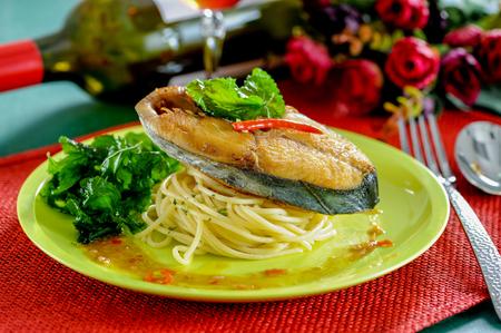 Spaghetti with stir basii ,Thai spicy style Stock Photo
