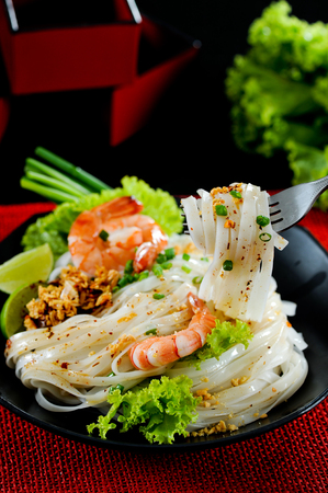 Noodle tom yum with shrimp, spicy thai noodle