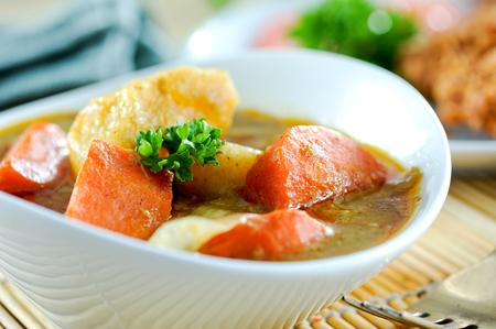 Potato curry with tonkatsu,japanese food