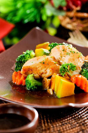 Stir-fry with chicken and vegetables,Asian cuisine