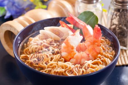 Spicy instant noodles soup with shrimp Banco de Imagens