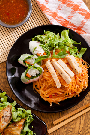 Vietnamese noodles and spring roll