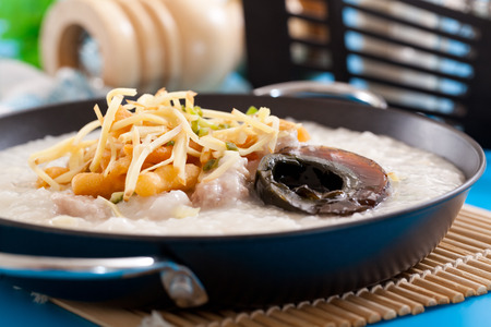 Congee and century egg ,Chinese food Stock Photo