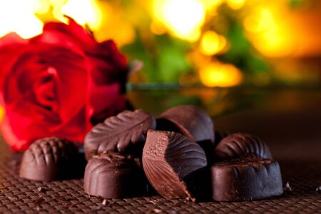 Valentine red roses and chocolate