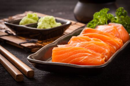 Salmon sashimi with wasabi,Japanese food