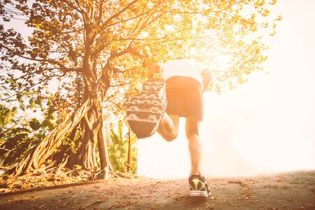 Running in the sunlight for exercising, fitness and healthy lifestyle
