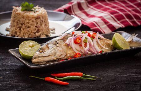 Fried mackerel spicy,Thai food