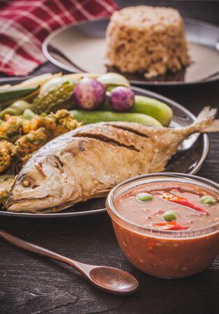 Fried mackerel with  paste sauce and vegetable set. Thai food