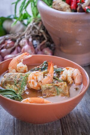 Sour soup with prawn and omelette ,Thai traditional food