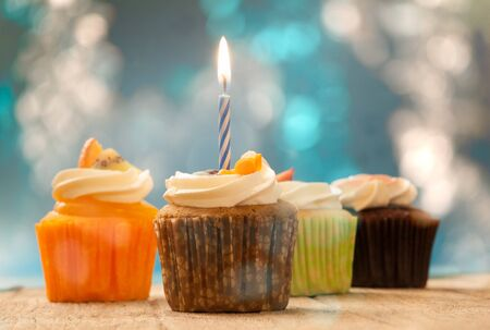 Birthday cupcakes in  colorful colors 스톡 콘텐츠