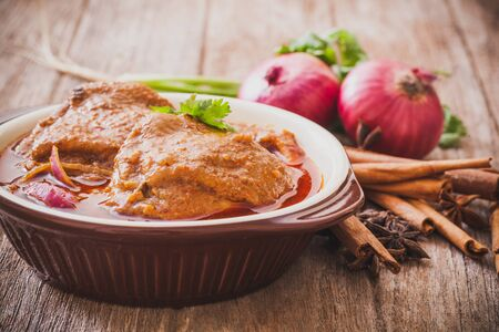 Chicken Massaman curry and ingredient spice,Asian food