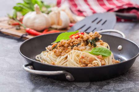 Spaghetti with stir basii ,Thai spicy style