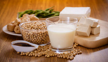 Soy bean, tofu and other soy products Stock fotó