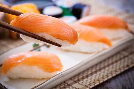 Homemade sushi with salmon,Japanese food