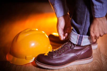 Close up worker wearing workwear
