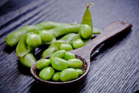 Boiled green soy beans, japanese food Banco de Imagens