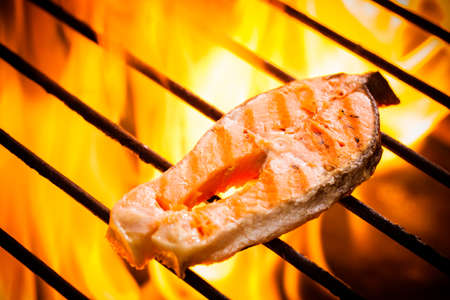 Hot salmon on a grilling pan