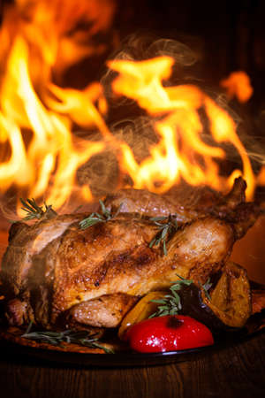 Roasted chicken with vegetables and fire 스톡 콘텐츠