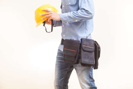 Worker wearing workwear with white background Reklamní fotografie
