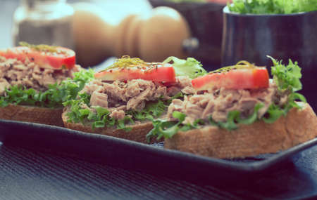 Sandwich with tuna on wood background ,healthy food 스톡 콘텐츠
