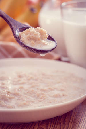 Oatmeal with milk,healthy breakfast 스톡 콘텐츠