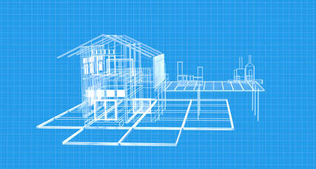 Blueprint house plan drawing wireframe structure.3d rendering