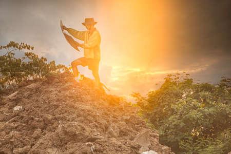 Man with map exploring on trekking adventure