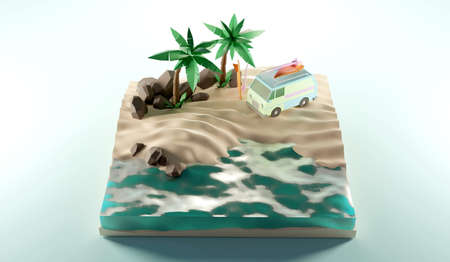 Sunny tropical beach with van and surf.3D rendering