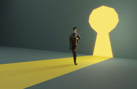 Businessman in suit standing in front of keyhole.3D rendering