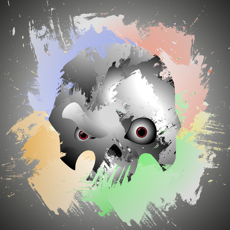 Background with the image of a skull in colorful watercolor spots Illusztráció
