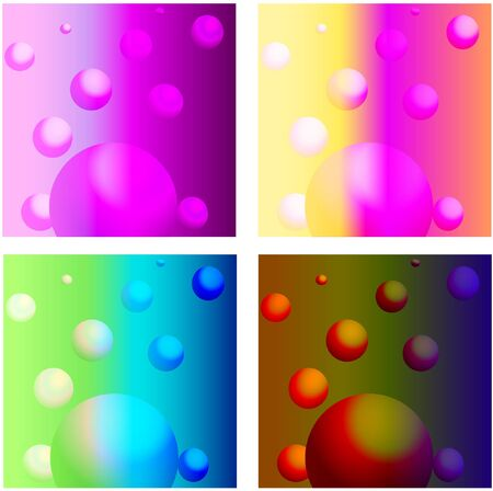 Illustration of a background with the image of three designs of colorful spheres