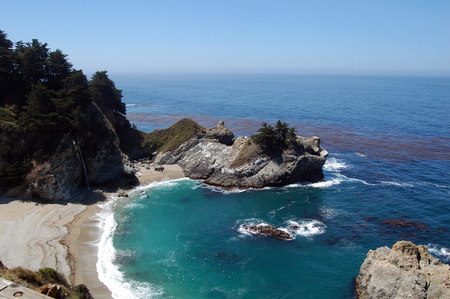 sur: Pacific coastline with waterfall in California,Highway one, USA