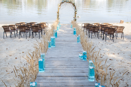 Wedding decor for ceremony with spikes and candles